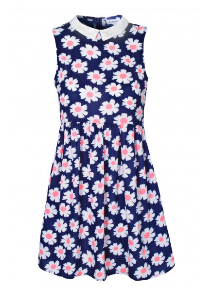 Navy With Coral Print Collar Skater Dress